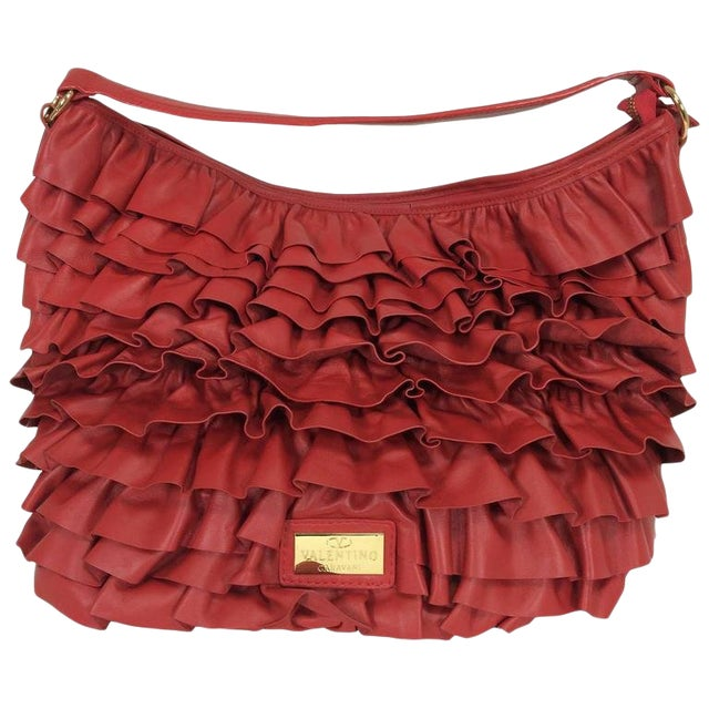 Valentino Large Red Leather Ruffle Shoulder Bag For Sale