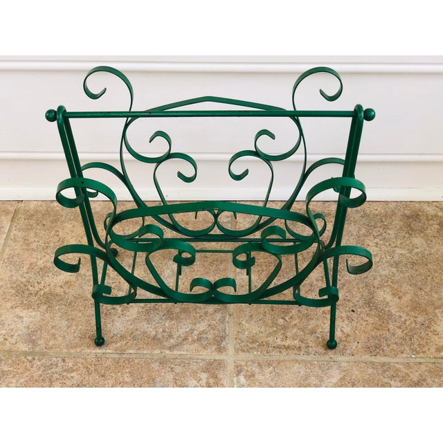 Mid-Century Modern Green Wrought Iron Magazine Rack For Sale - Image 10 of 10