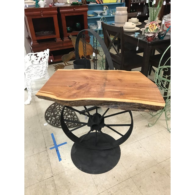 Custom Wood & Iron Side Table - Image 2 of 5