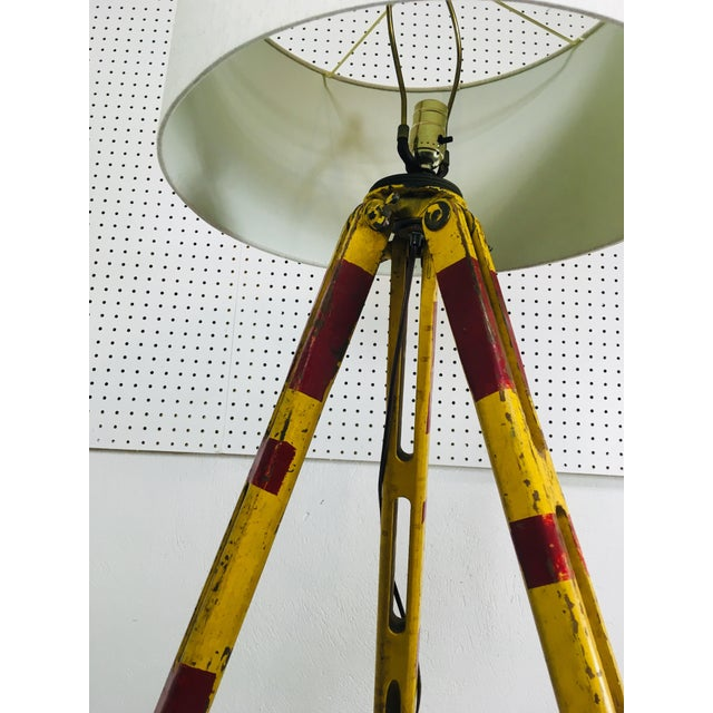 Vintage Red and Yellow Surveyors Tripod Floor Lamp with Linen Shade For Sale - Image 4 of 9