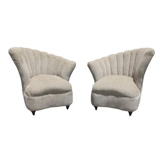 1940s Vintage Luxe Art Deco/ Hollywood Regency Fan Back Club Chairs- A Pair For Sale