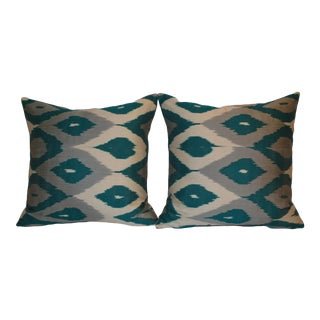 Blue Fabric Ikat Pillows - a Pair