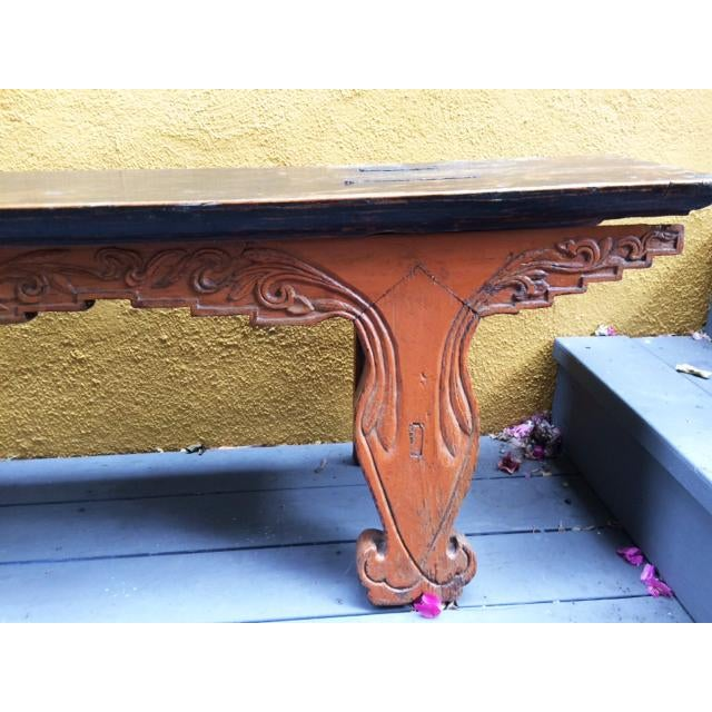 Antique Chinese Wooden Bench For Sale - Image 5 of 11