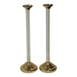 Polished Brass and Lucite 2-Ft Tall Candlesticks Candle Holders For Sale