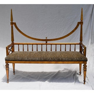Vintage Mid Century Gold Leaf Leopard Upholstery Hollywood Regency Window Bench Preview