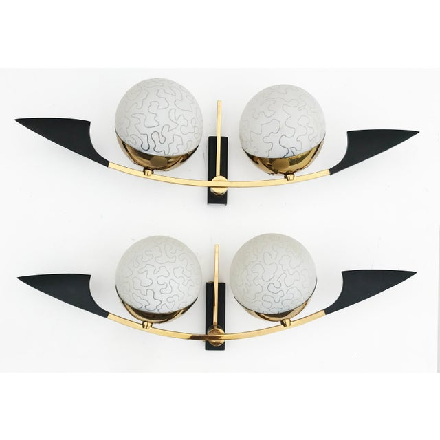 1970s Maison Arlus Paris Black and Brass Sconces - 2 Pairs Available For Sale - Image 5 of 5