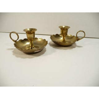 1960s Mid-Century Modern Brass Candleholders With Finger Rings - a Pair Preview