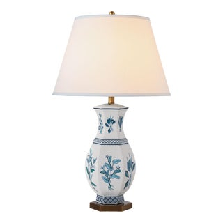 Madcap Cottage Botanical Blue Porcelain Table Lamp For Sale