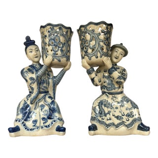 Chinese Blue & White Porcelain Ching Man and Woman Candle Holders - Pair For Sale