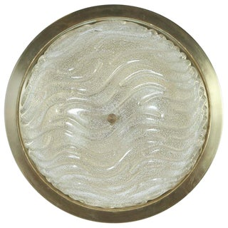 1960s Textured Glass Flush Mount Fixture by Doria For Sale
