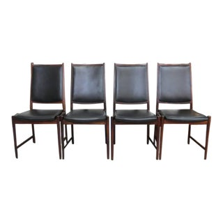 Bruksbo Norway High Back Rosewood & Black Leather Chairs - Set of 4