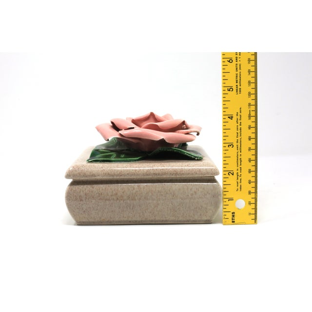 Gorgeous 1971 Chanel Inspired Camellia Ceramic Square Lidded Dish For Sale - Image 10 of 11