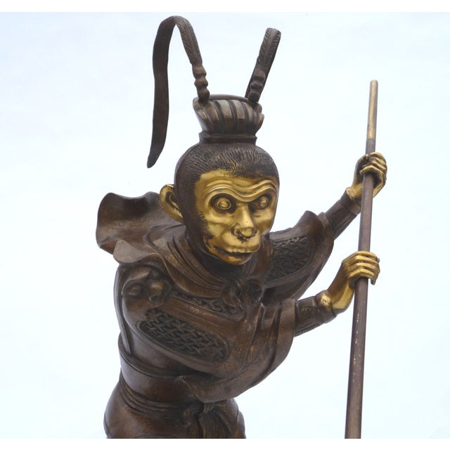 Large Bronze Statue of Sun Wukong Warrior - Image 5 of 7