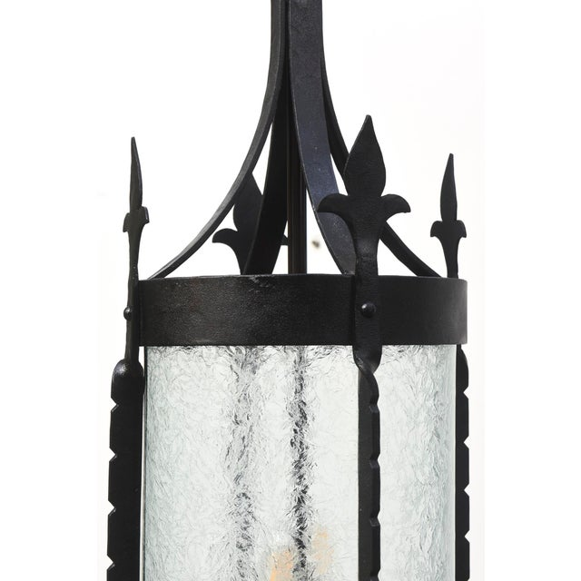 White Wrought Iron Lantern with Curved Textured Glass For Sale - Image 8 of 11