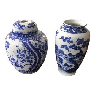 Chinese Blue and White Small Ceramic Vases - a Pair