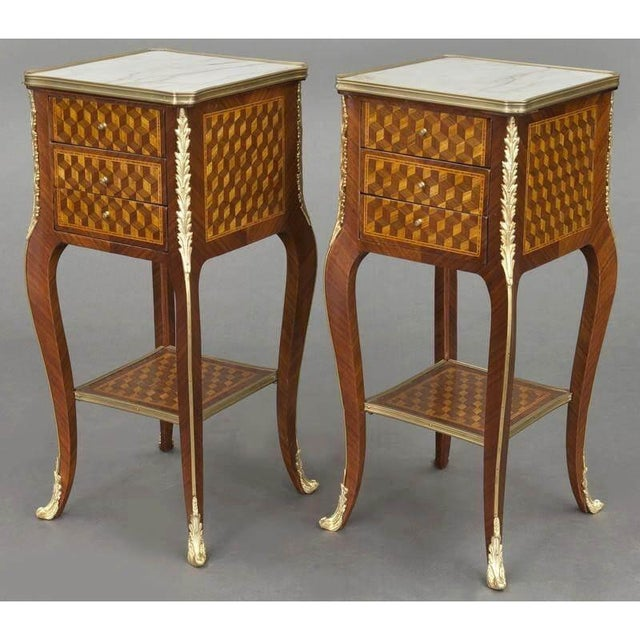 Baroque Vintage French Louis XV Marquetry and Bronze Nightstands With Marble Top - a Pair For Sale - Image 3 of 8