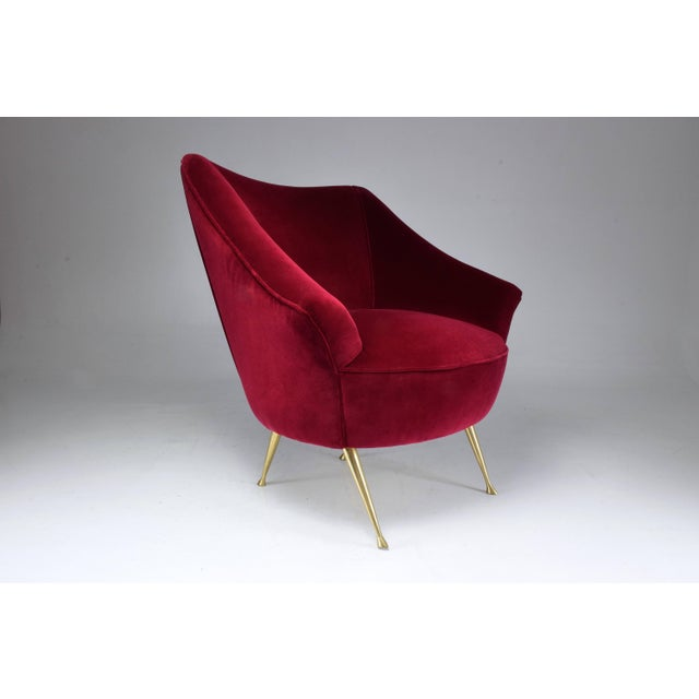 Italian Mid-Century Velvet Armchair For Sale - Image 10 of 11