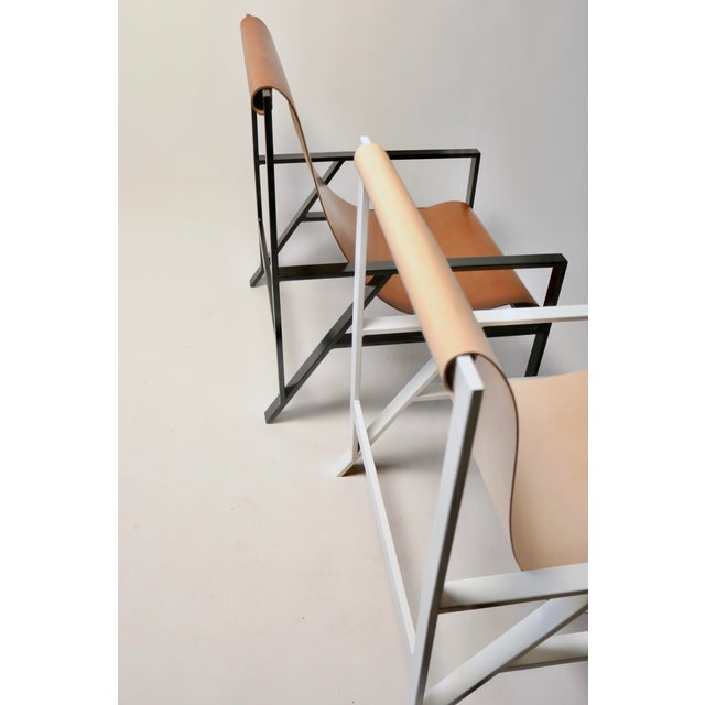 Not Yet Made - Made To Order Hampton Light Lounge Chair - White Frame, Natural Leather For Sale - Image 5 of 8