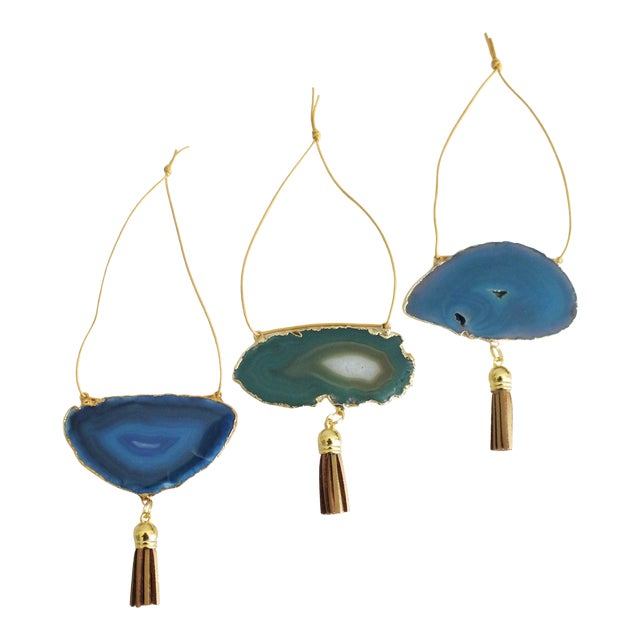 Modern Boho Agate Holiday Ornaments - Set of 3 - Image 1 of 5
