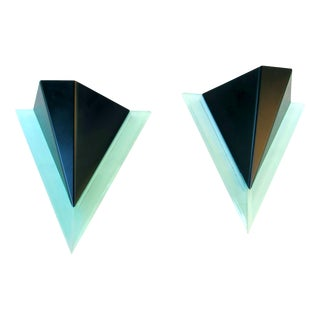 Pair of Geometric Sconces Metal and Acrylic, 1980s For Sale