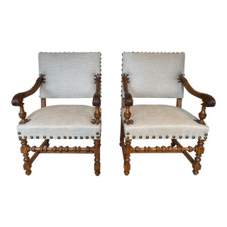 Reupholstered Hand Carved Walnut 1800's French Armchairs - A Pair For Sale