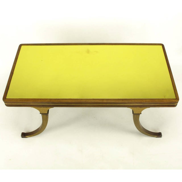 Early 20th Century Early 1900s Parcel-Gilt and Walnut Empire Coffee Table With Gold Mirror Top For Sale - Image 5 of 9