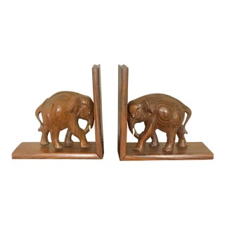 Rosewood Hand Carved Elephant Bookends - a Pair For Sale