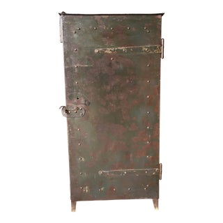 1920s Industrial Riveted Steel Cabinet For Sale