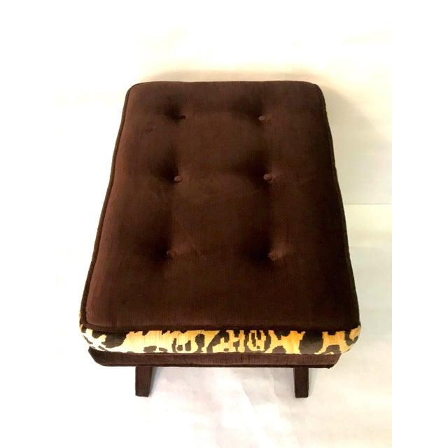 2010s Leopard & Brown Velvet Upholstered X Bench For Sale - Image 5 of 9