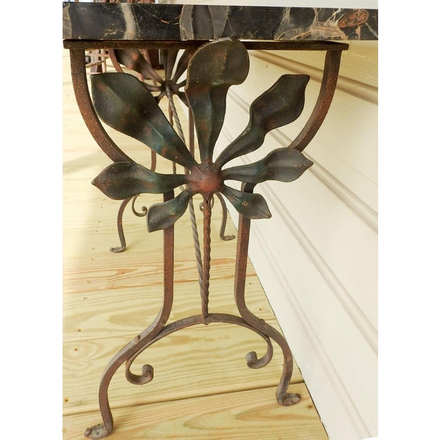 Art Deco Iron Marble Top Hand Forged Side Table For Sale In San Antonio - Image 6 of 8