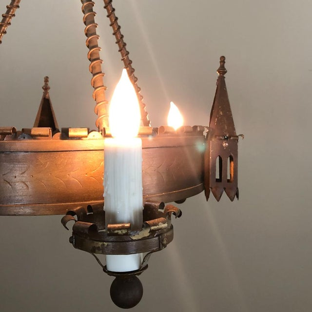 Antique Gothic Wrought Iron Chandelier For Sale - Image 11 of 13