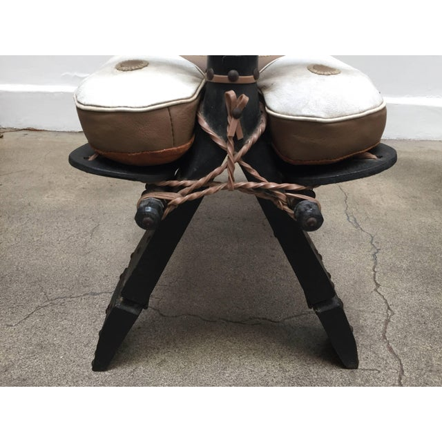 Vintage Moroccan Tuareg Camel Wooden Saddle Stool With Leather Cushion For Sale - Image 4 of 13