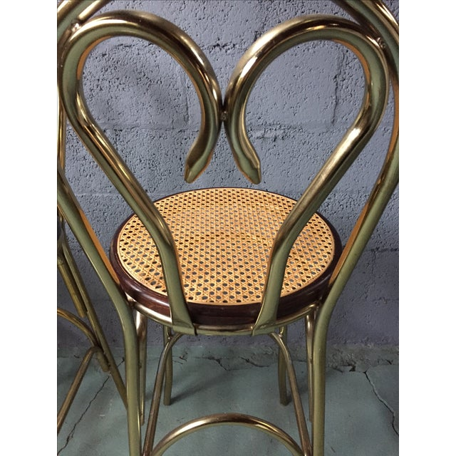 Gold Chrome Bar Stools In The Style of Michael Thonet- Set of 3 - Image 7 of 11