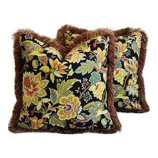 "Designer Schumacher English Floral Feather/Down Pillows 23"" Square - Pair For Sale"