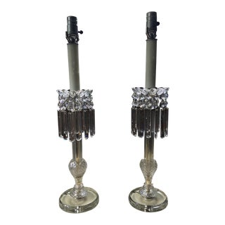 Early 20th Century Crystal Lamps - a Pair For Sale