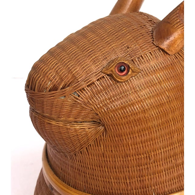 20th Century Shanghai Collection Hand Woven Wicker Rabbit Box For Sale - Image 9 of 13