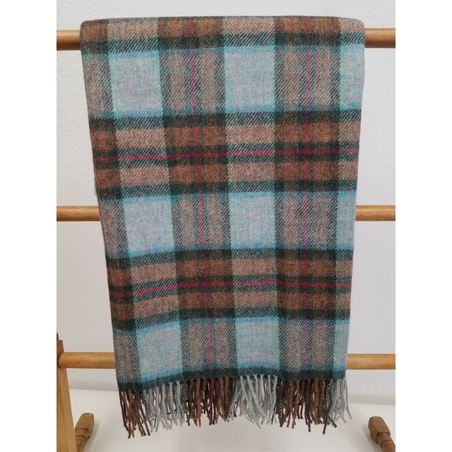 Wool Throw Red Blue Orange Plaid - Made in England For Sale - Image 12 of 12