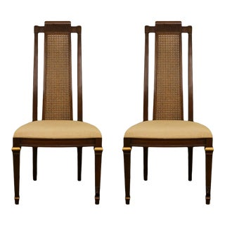 Late 20th Century Heritage French Regency Style Cane Back Dining Side Chairs - a Pair For Sale