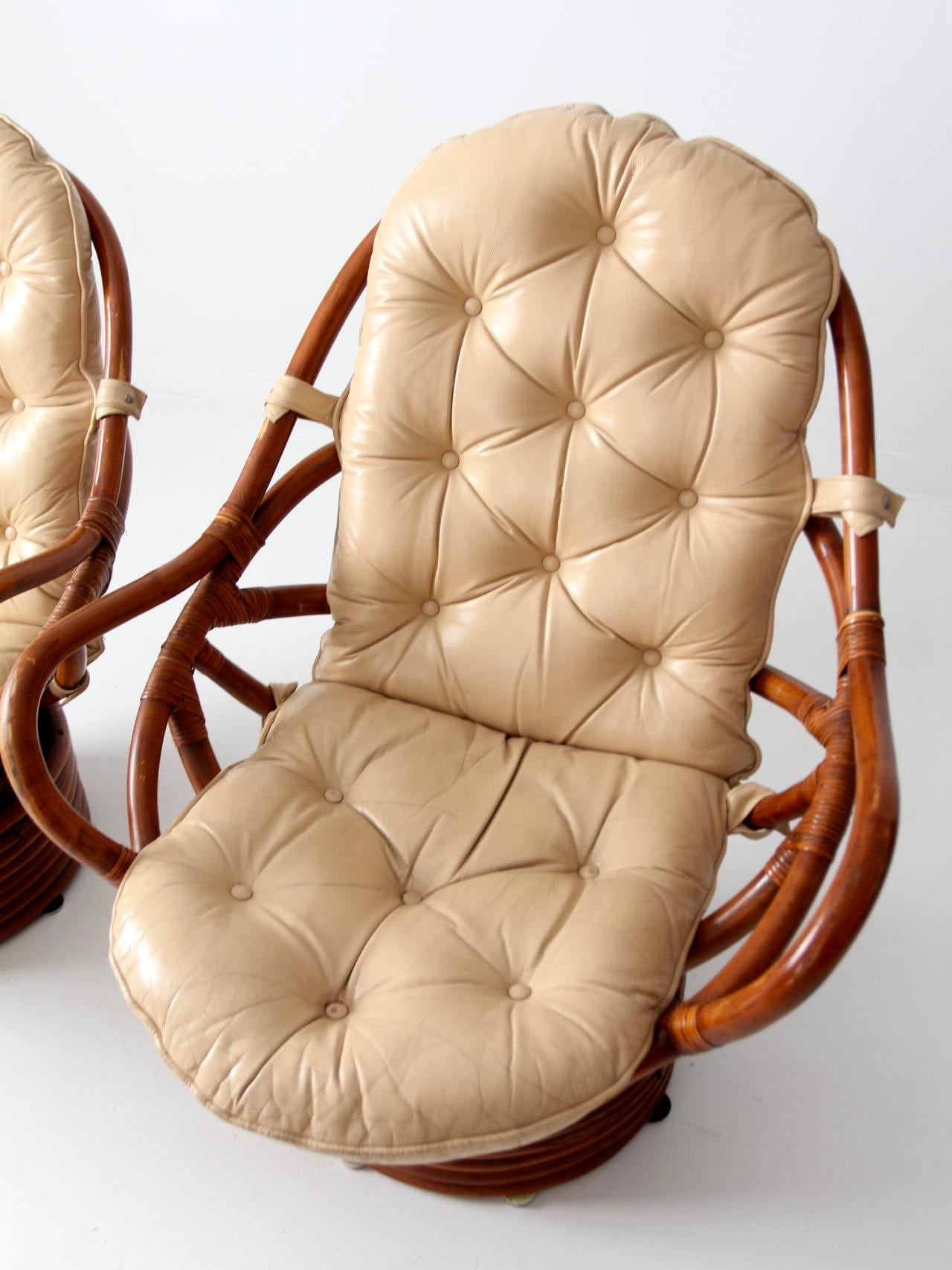 Mid Century Rattan Swivel Chair And Ottoman   Set Of 4 For Sale   Image
