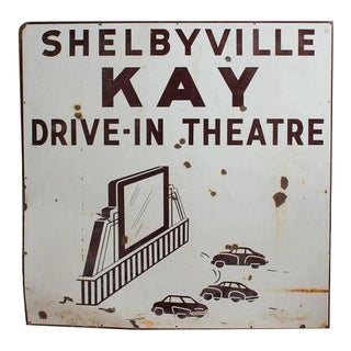 1950s American Drive in Theatre Double-Sided Enamel Sign For Sale