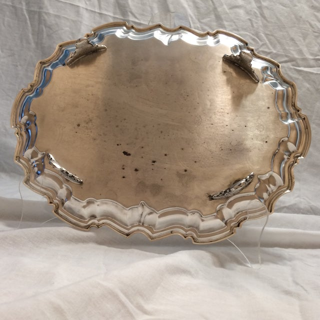 Vintage English Equestrian Silver Plated Serving Platter with Feet - Image 5 of 10