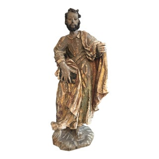 17th Century Continental Carved Wood Gesso Polychrome Apostle Sculpture For Sale