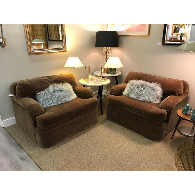 Thayer Coggin Oversized Mohair Club Chairs - Milo Baughman Style - a Pair - Image 9 of 11