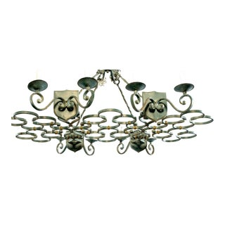 French Rectangular Green Wrought Iron Eight Light Chandelier