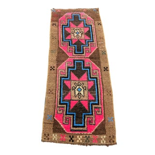 Small Geometric Design Pink Color Turkish Rug For Sale