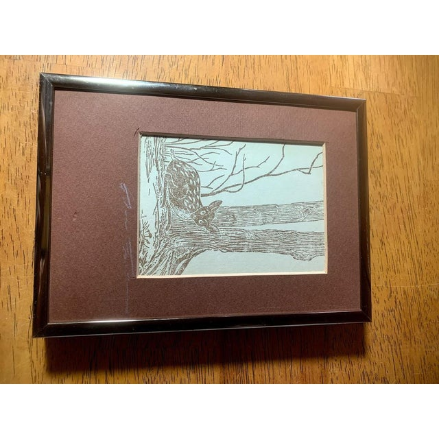 Gwen Frostic (1906-2001) Michigan artist and writer framed block print. This print features a deer sitting under a tree....
