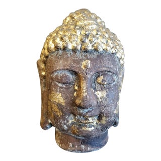 Cast Stone Gold Leafed Serene Buddah For Sale