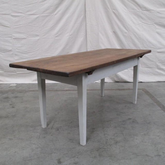 Antique Danish Rustic Painted Dining Table For Sale - Image 5 of 9
