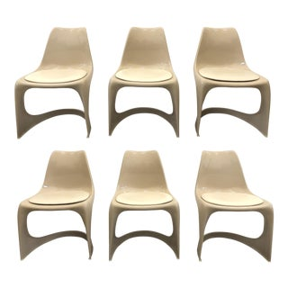 1970s Vintage Molded Plastic Steen Ostergaard Cado Chairs- Set of 6 For Sale