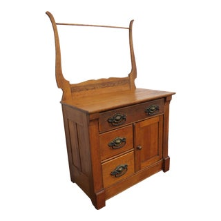 Victorian Early 1900s Washstand With Towel Rack by Athens Furniture For Sale